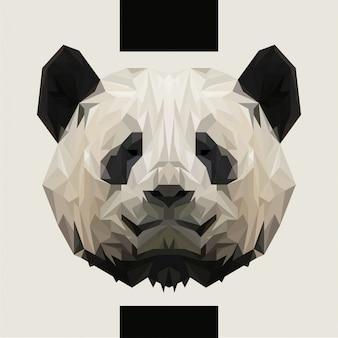 Низкий полигональные panda head vector