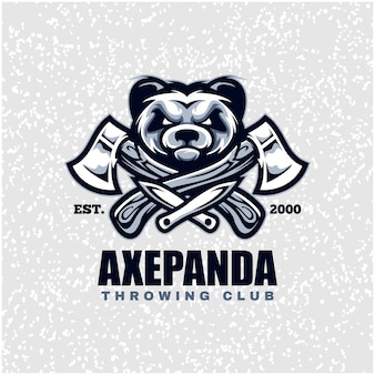 Panda head with axes and knifes, throwing club logo.