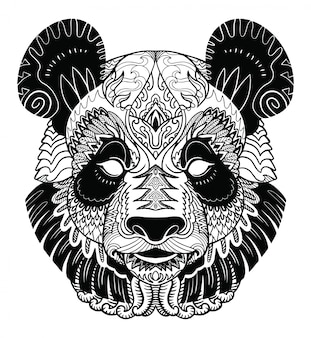 Голова панды zentangle