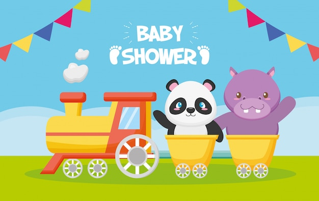 Panda and hippo in a train for baby shower card