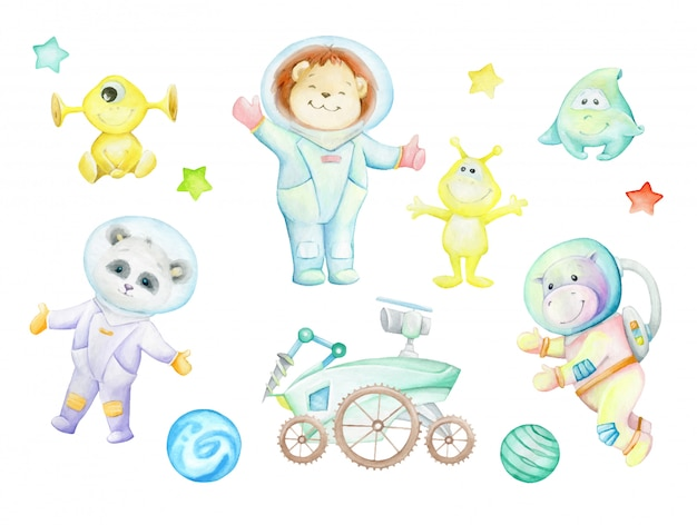 Panda, hippopotamus, lion cub, aliens, moonwalker, planets, stars. watercolor set, drawings, astronauts.