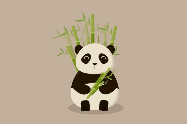 Панда держит бамбук на бамбуковом фоне