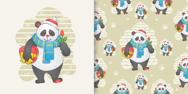 The panda holding the flower and holding a gift on the pattern set of illustration