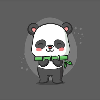 Панда держит зеленый бамбук