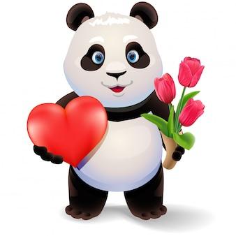 Панда держит сердце и тюльпаны