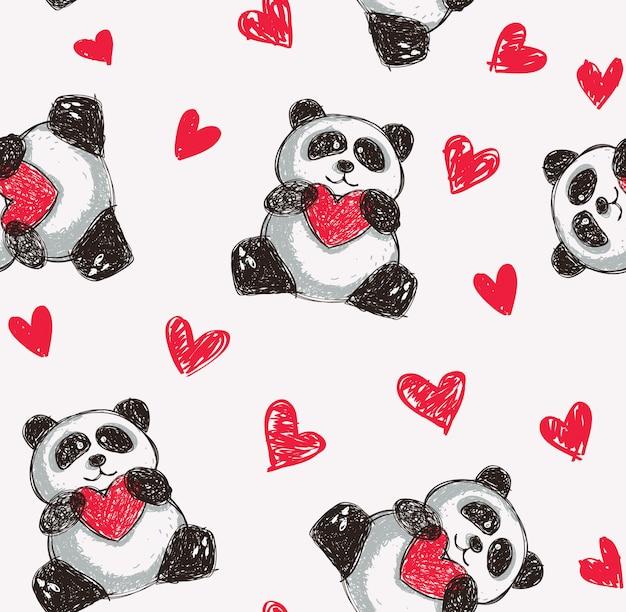 Panda holding heart seamless background