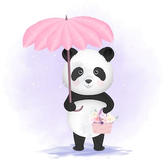 Panda holding umbrella and flower basket illustration