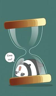 Panda in hourglass in cartoon style.