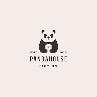 Panda house logo hipster vintage retro