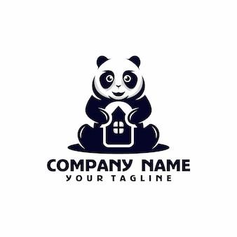 Panda house logo template vector