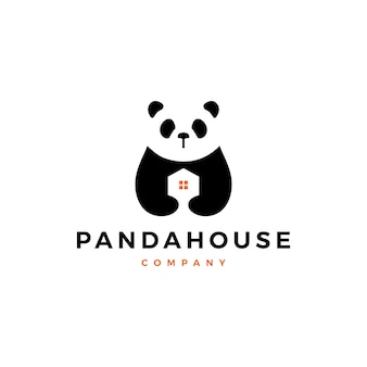 Panda house logo vector icon illustration