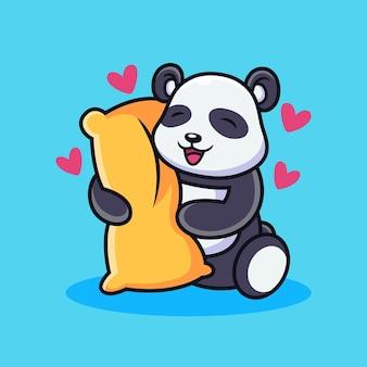 Панда обнимает подушку с любовью. животное мультфильм вектор значок иллюстрации, изолированных на премиум векторы