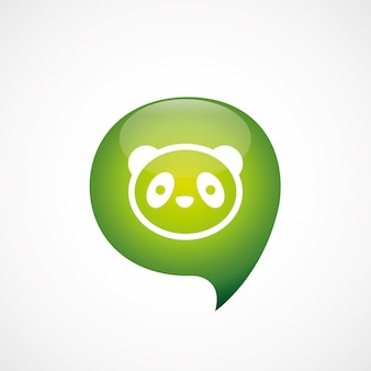 팬더 아이콘 녹색 생각 거품 기호 로고, 흰색 배경에 고립