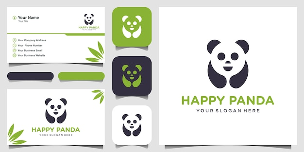 Panda   illustration. panda's head. smiling animal face. bamboo bear chinese bear logotype. carnival symbol. cute picture. and business card