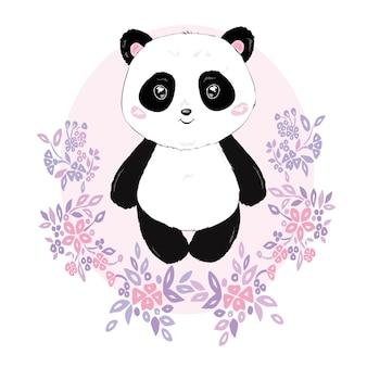 Panda illustration vector, cute panda head isolated on white background