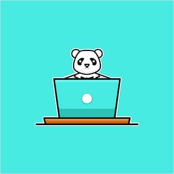 ラップトップで動作するパンダのイラスト