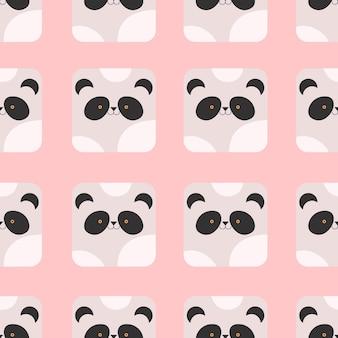 Панда в мультяшном стиле бесшовные модели на розовом фоне