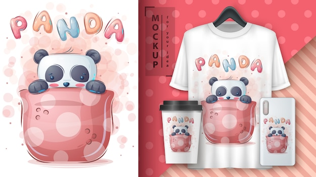 カップのパンダ-ポスターとマーチャンダイジング。