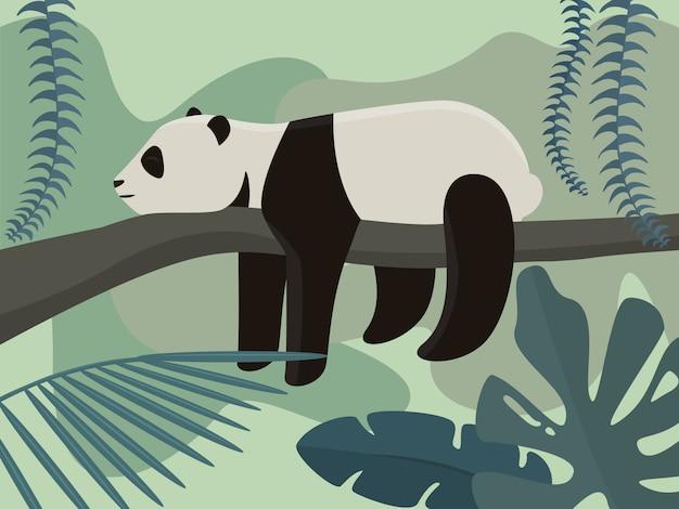 Панда в тропическом лесу. иллюстрация в мультяшном стиле.