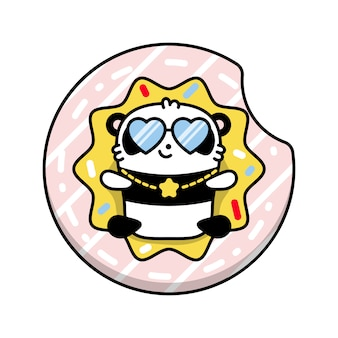 Panda on the inflatable circle donut illustration
