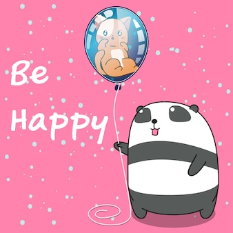 Panda is holding cat in the balloon.