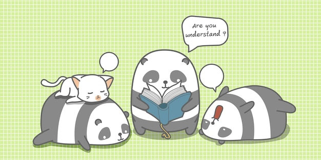 Panda is reading a book for friends.