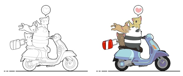 Panda is riding motorbike with cats cartoon coloring page
