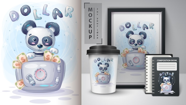 Panda is saving money poster and merchandising.