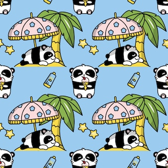 Panda kawaii seamless color pattern
