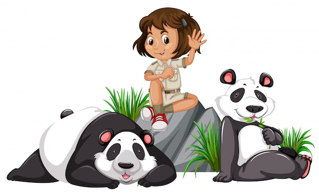 A panda keeper on white background