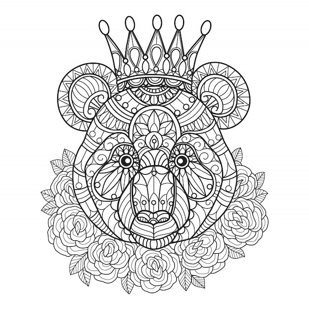 Panda king coloring pages for adults