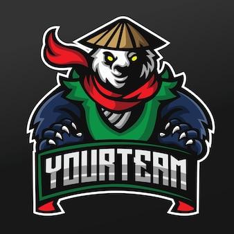 로고 esport 게임 팀 분대를위한 팬더 쿵후 파이터 마스코트 스포츠 일러스트 디자인