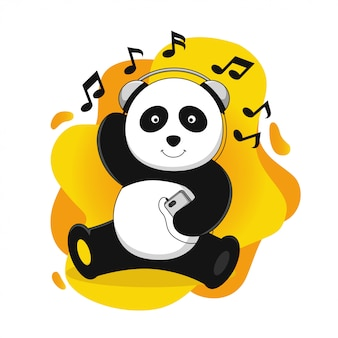 Panda listening to music vector illustration