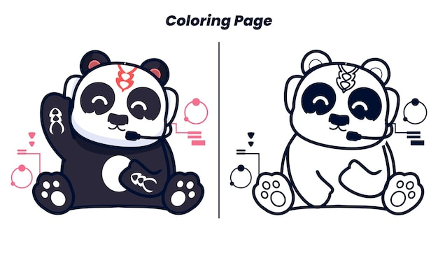 Panda listening to music with coloring pages