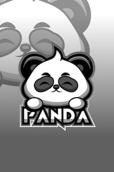 Panda logo e sport illustration
