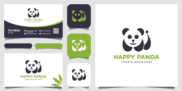 Панда логотип иллюстрации. голова панды. улыбающееся лицо животного. бамбуковый медведь китайский медведь логотип. символ карнавала милая картинка. и визитка