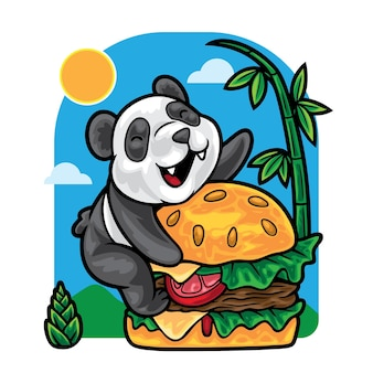 Panda love hamburger illustration
