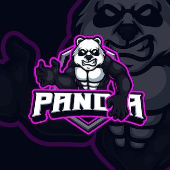 パンダのマスコットeスポーツゲームのロゴデザイン