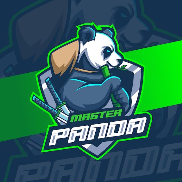 パンダマスコットeスポーツロゴデザイン