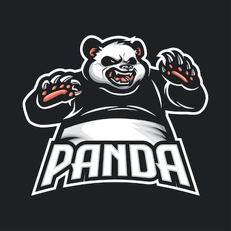Eスポーツとスポーツのためのパンダマスコットロゴ