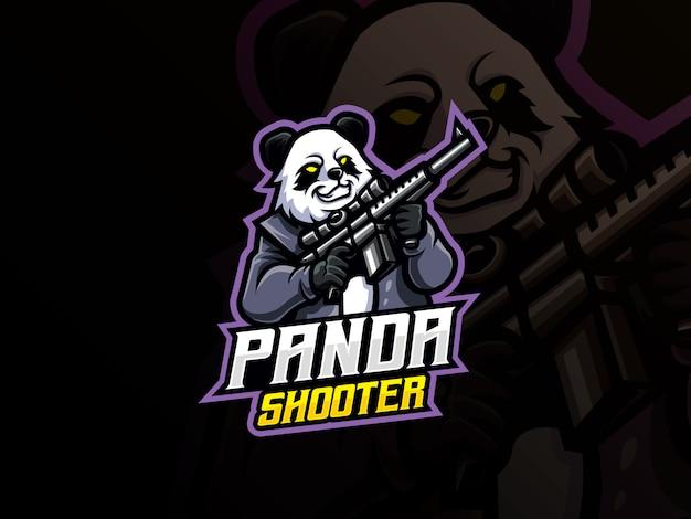 Панда талисман спортивный дизайн логотипа