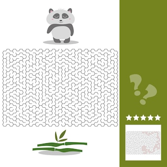 Panda maze game - help hungry panda find right way to his bamboo - maze puzzle with solution