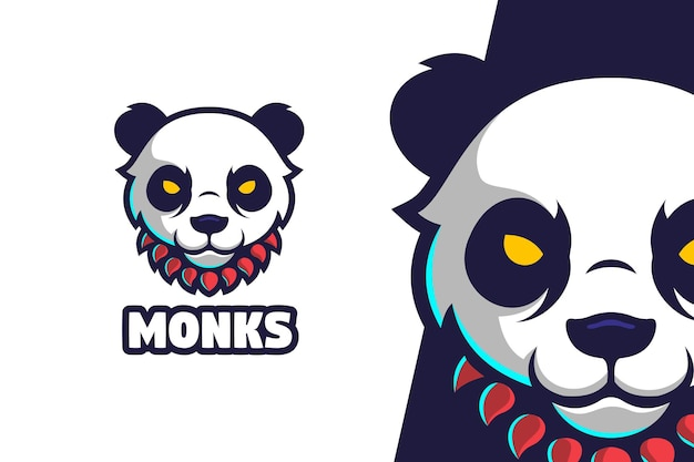 Panda monk logo mascot character