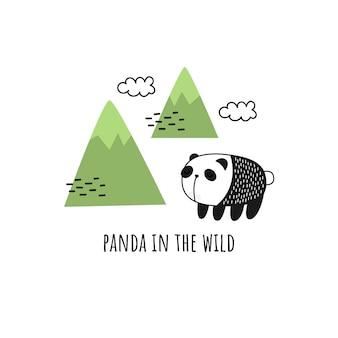 Panda in mountains