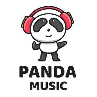 Панда музыка симпатичные шаблон логотипа