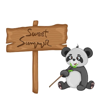 Panda near wooden signboard with the inscription