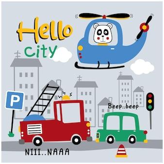 헬리콥터 재미 있는 동물 만화에 팬더