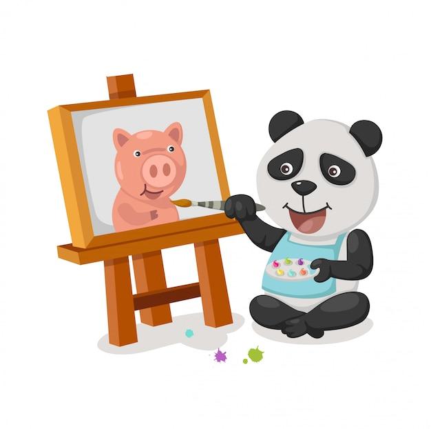 Panda painting vector