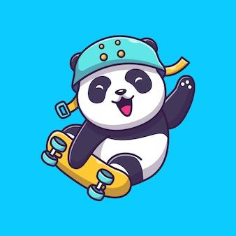 Симпатичные panda play скейтборд иконка иллюстрация. панда талисман мультипликационный персонаж. животное иконка концепция изолированные