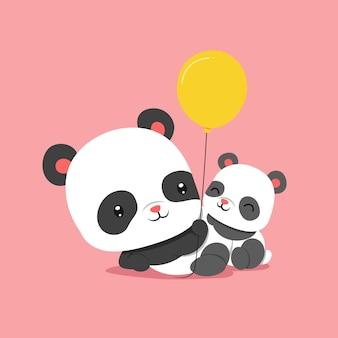 赤ちゃんパンダと風船を遊ぶパンダ